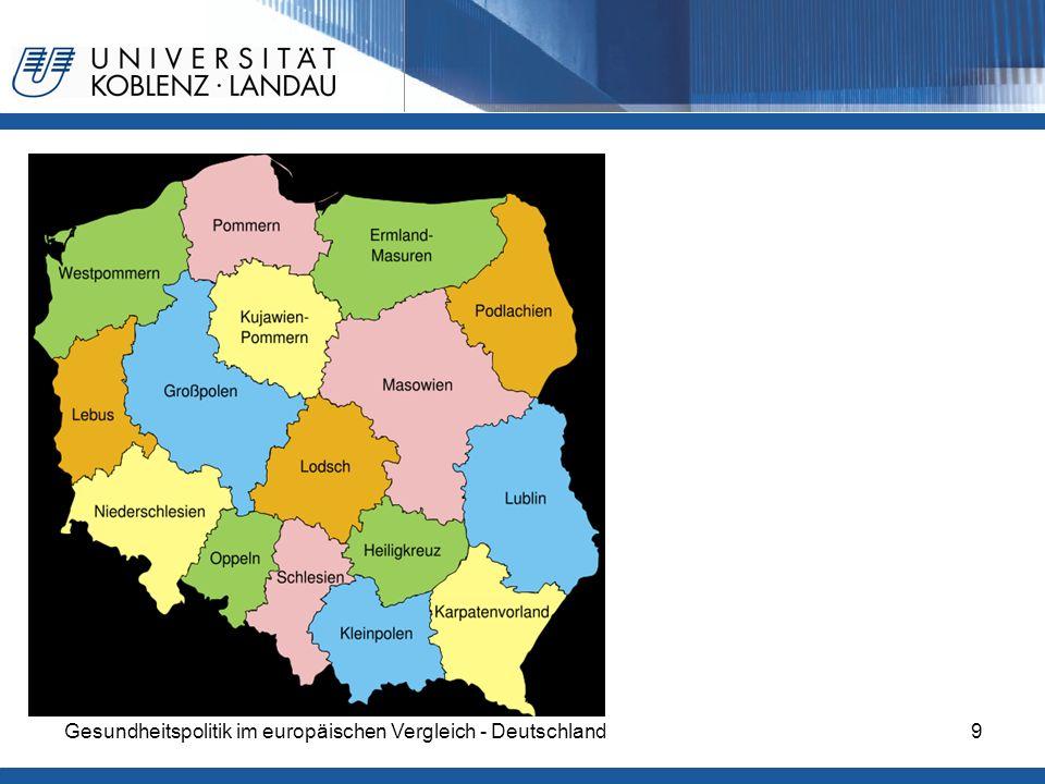 Gesundheitspolitik im europäischen Vergleich - Deutschland30 Gesundheitsreform 2003 Vertragsbeziehungen zwischen den Krankenkassen und Leistungserbringern Es besteht ein großer Anteil privat finanzierter Leistungen