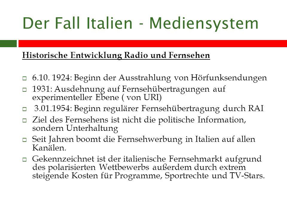 Der Fall Italien - Mediensystem Historische Entwicklung Radio und Fernsehen 6.10.