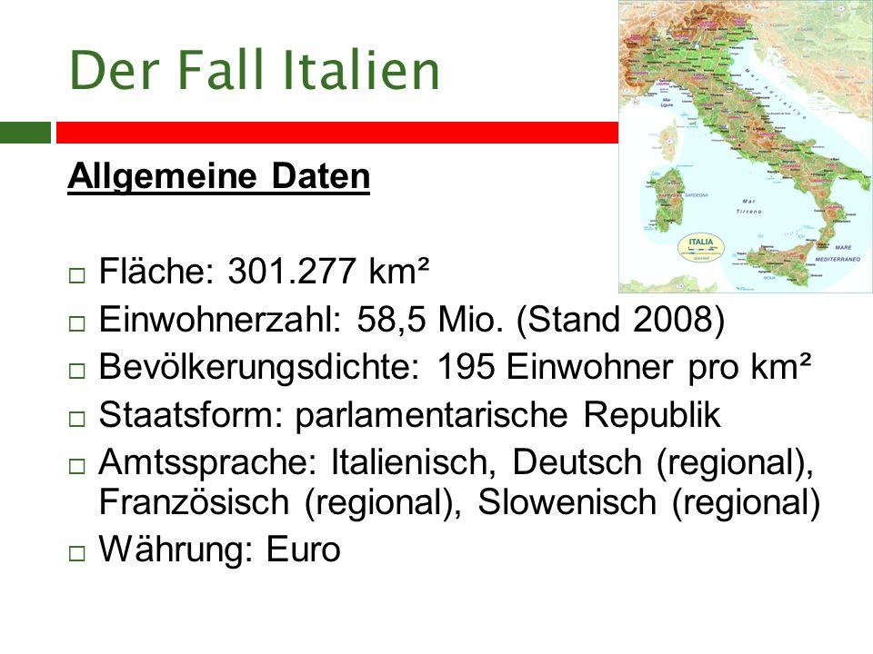 Der Fall Italien Allgemeine Daten Fläche: 301.277 km² Einwohnerzahl: 58,5 Mio.