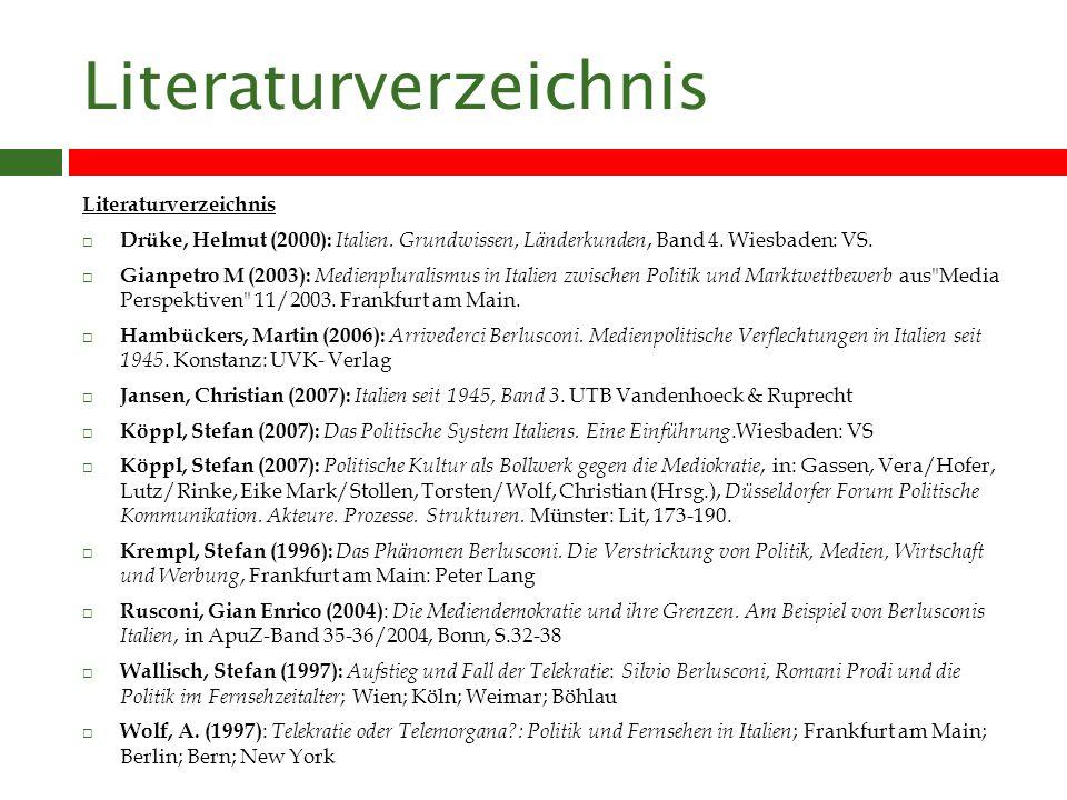 Literaturverzeichnis Drüke, Helmut (2000): Italien.