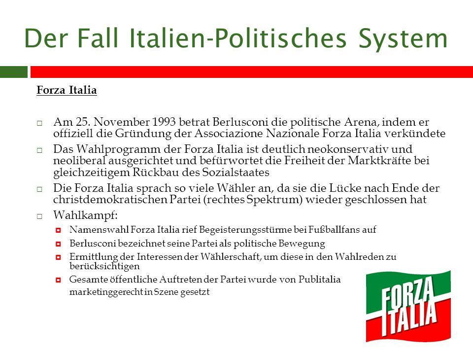 Der Fall Italien-Politisches System Italienische Gesellschaft/ Kultur Scheu behauptet, dass sowohl Menschen als auch die Politik Italiens chaotisch seien Der typische Italiener ist individualistisch veranlagt, weißt eine situative Wendigkeit auf und kann mit unerwarteten Ereignissen aufgrund seiner Flexibilität souverän umgehen Unter anderem sei der Italiener auch ein Schlitzohr, was die Haltung und Toleranz gegenüber nicht korrektem Verhalten von Politikern (Berlusconi) erklärt Es herrscht eine Distanz zur Politik und die Entfremdung der Bevölkerung von der Politik ist ein seit jeher in Italien existierendes Phänomen