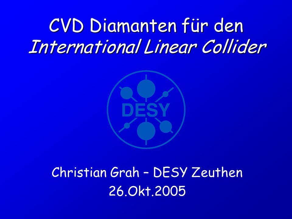 26.10.05 FreiburgCh.Grah – CVD Diamanten für ILC12 Signalentstehung in Diamant ionisierendes Teilchen Sensor h e hh h e e e h e h e Gnd -HV Trigger ADC