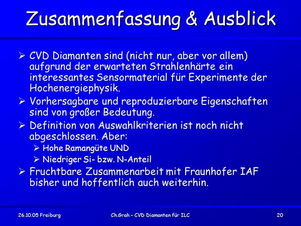 26.10.05 FreiburgCh.Grah – CVD Diamanten für ILC20 Zusammenfassung & Ausblick CVD Diamanten sind (nicht nur, aber vor allem) aufgrund der erwarteten S