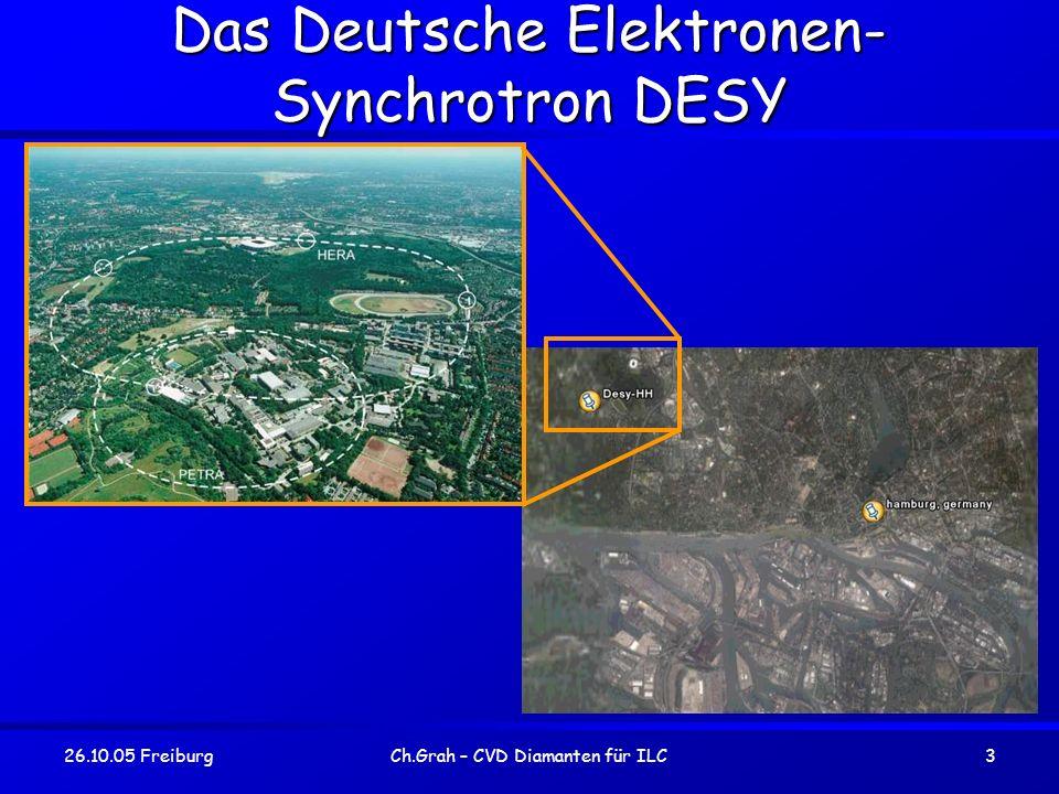26.10.05 FreiburgCh.Grah – CVD Diamanten für ILC4 DESY Nationales Forschungszentrum für Hochenergiephysik in HH.