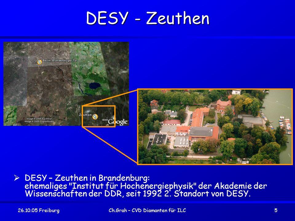 26.10.05 FreiburgCh.Grah – CVD Diamanten für ILC16 Mögliche Ursache - Microcracks Wirebonding funktioniert inzwischen zuverlässig.