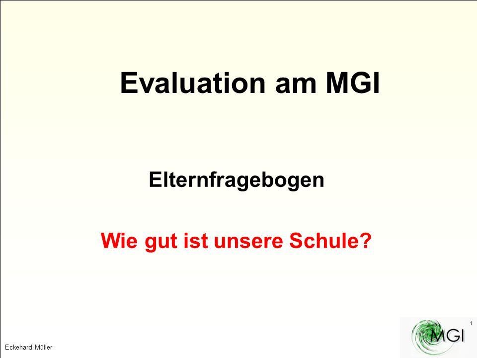 Eckehard Müller 1 Evaluation am MGI Elternfragebogen Wie gut ist unsere Schule?