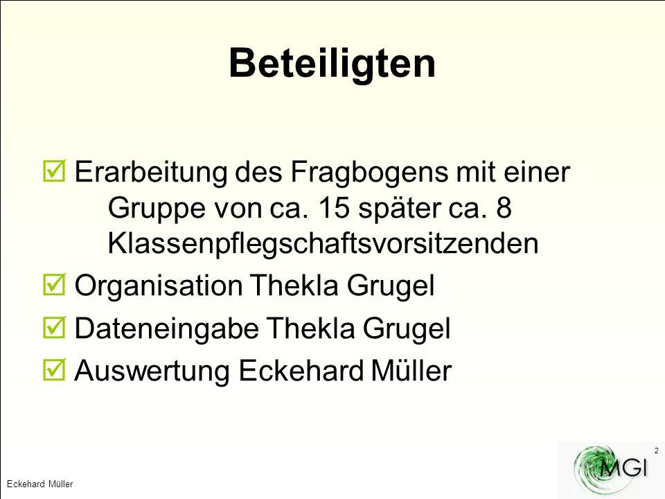 Eckehard Müller 2 Beteiligten Erarbeitung des Fragbogens mit einer Gruppe von ca. 15 später ca. 8 Klassenpflegschaftsvorsitzenden Organisation Thekla