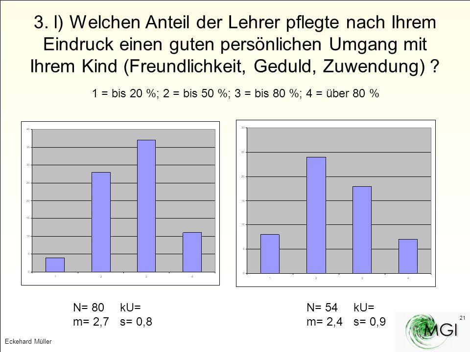 Eckehard Müller 21 3. l) Welchen Anteil der Lehrer pflegte nach Ihrem Eindruck einen guten persönlichen Umgang mit Ihrem Kind (Freundlichkeit, Geduld,