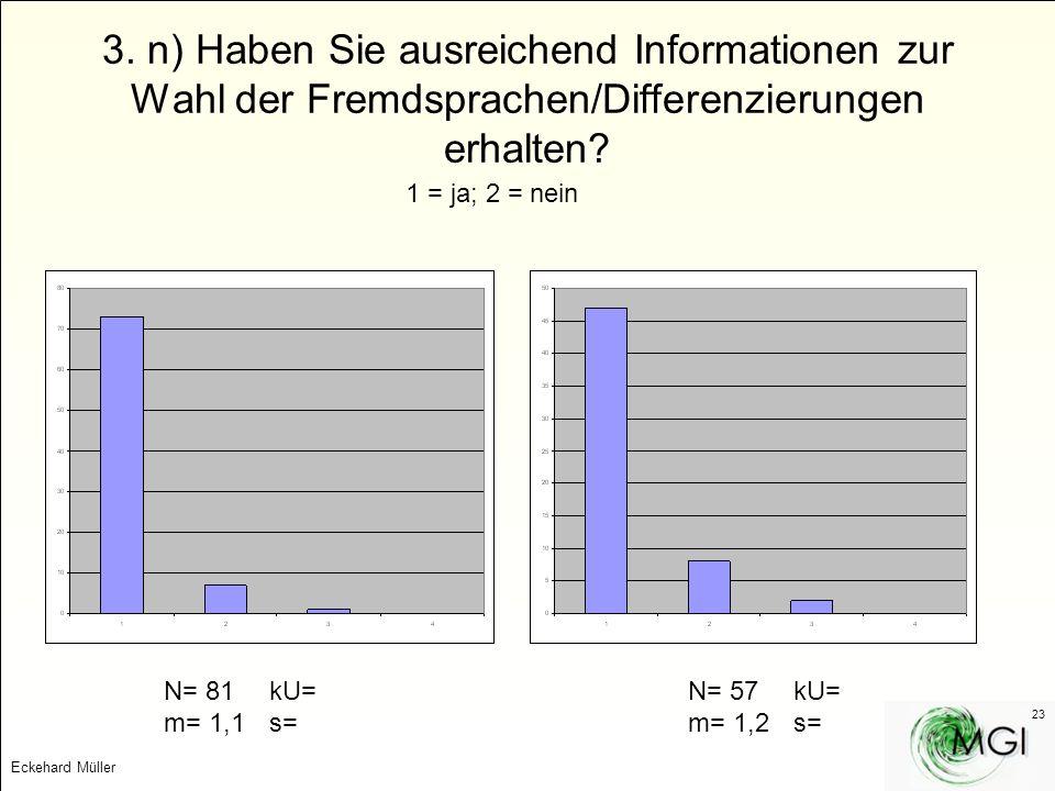 Eckehard Müller 23 3. n) Haben Sie ausreichend Informationen zur Wahl der Fremdsprachen/Differenzierungen erhalten? 1 = ja; 2 = nein N= 81kU= m= 1,1s=