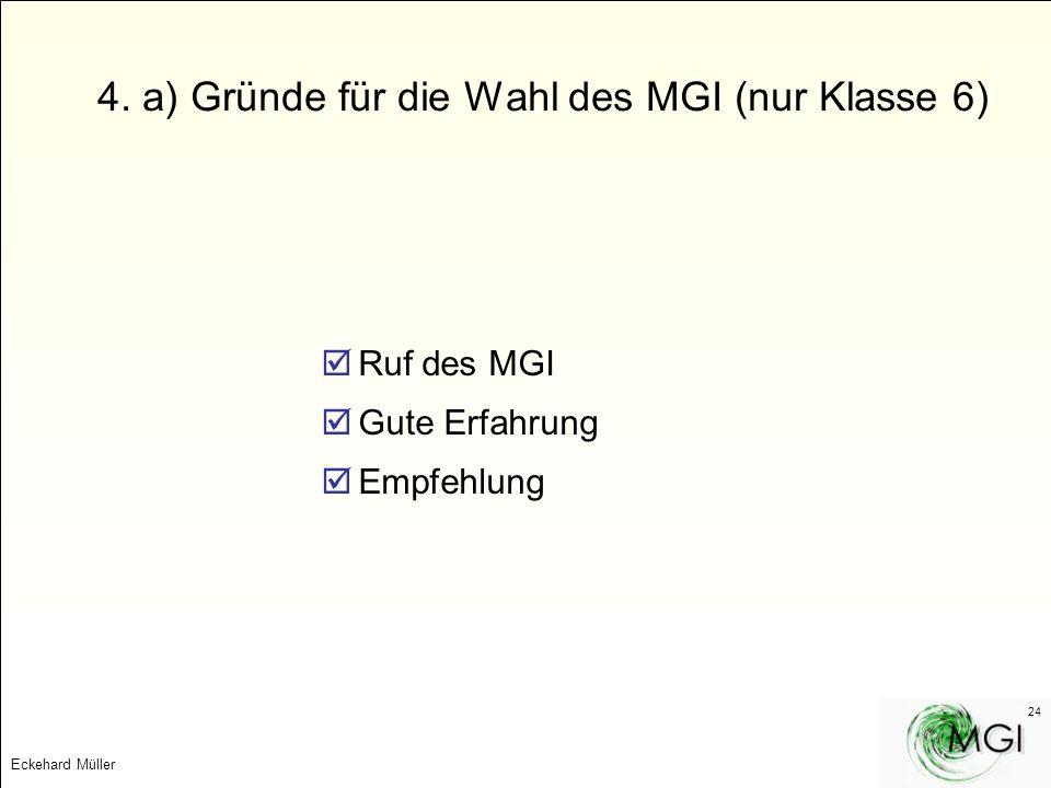 Eckehard Müller 24 4. a) Gründe für die Wahl des MGI (nur Klasse 6) Ruf des MGI Gute Erfahrung Empfehlung