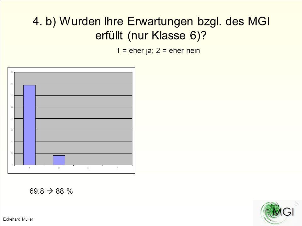 Eckehard Müller 25 4. b) Wurden Ihre Erwartungen bzgl. des MGI erfüllt (nur Klasse 6)? 1 = eher ja; 2 = eher nein 69:8 88 %