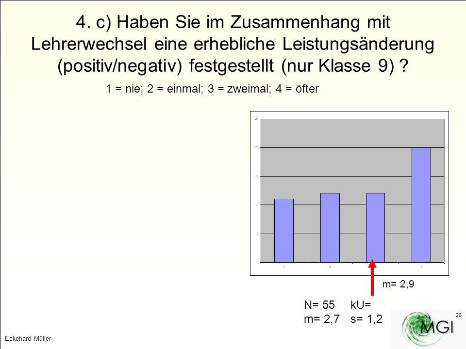 Eckehard Müller 26 4. c) Haben Sie im Zusammenhang mit Lehrerwechsel eine erhebliche Leistungsänderung (positiv/negativ) festgestellt (nur Klasse 9) ?