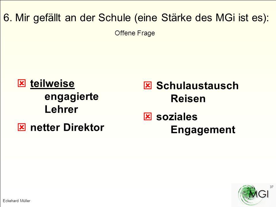Eckehard Müller 37 6. Mir gefällt an der Schule (eine Stärke des MGi ist es): Offene Frage teilweise engagierte Lehrer netter Direktor Schulaustausch