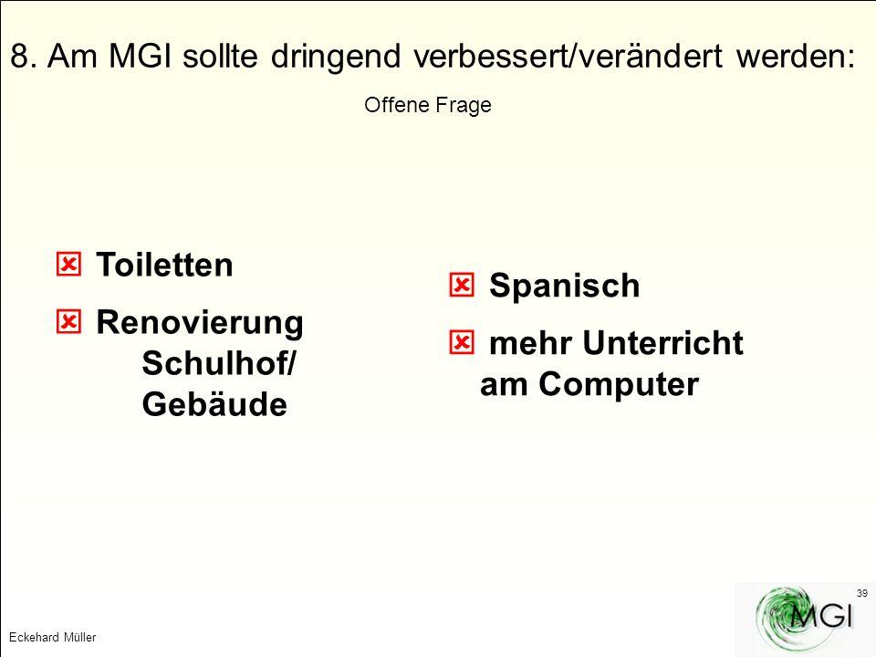 Eckehard Müller 39 8. Am MGI sollte dringend verbessert/verändert werden: Offene Frage Toiletten Renovierung Schulhof/ Gebäude Spanisch mehr Unterrich