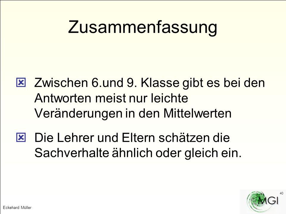 Eckehard Müller 40 Zusammenfassung Zwischen 6.und 9. Klasse gibt es bei den Antworten meist nur leichte Veränderungen in den Mittelwerten Die Lehrer u