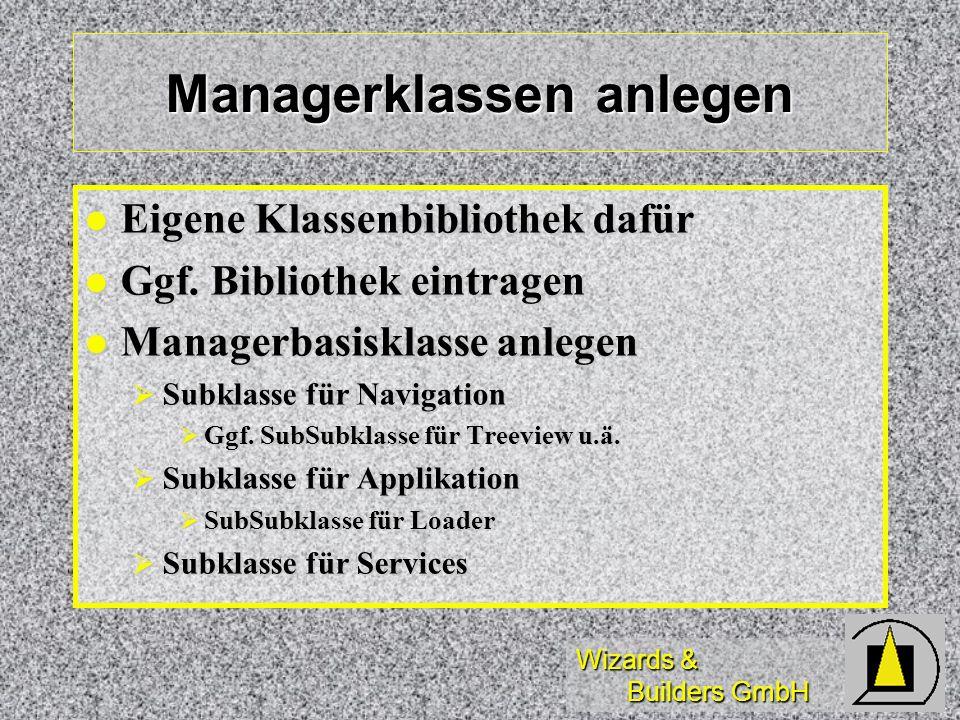 Wizards & Builders GmbH Managerklassen anlegen Eigene Klassenbibliothek dafür Eigene Klassenbibliothek dafür Ggf.