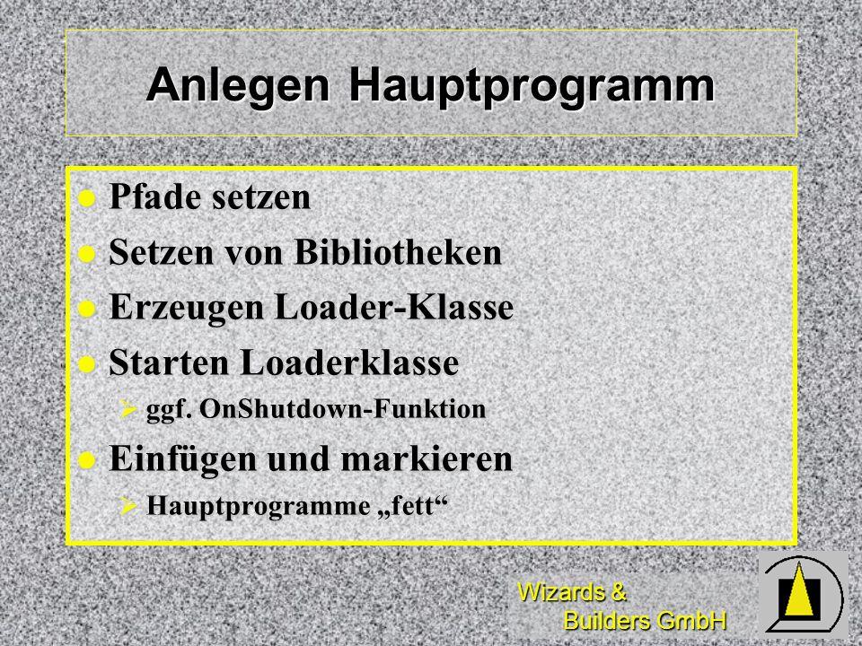 Wizards & Builders GmbH Anlegen Hauptprogramm Pfade setzen Pfade setzen Setzen von Bibliotheken Setzen von Bibliotheken Erzeugen Loader-Klasse Erzeugen Loader-Klasse Starten Loaderklasse Starten Loaderklasse ggf.