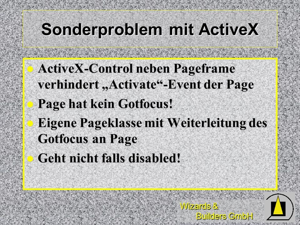 Wizards & Builders GmbH Sonderproblem mit ActiveX ActiveX-Control neben Pageframe verhindert Activate-Event der Page ActiveX-Control neben Pageframe verhindert Activate-Event der Page Page hat kein Gotfocus.