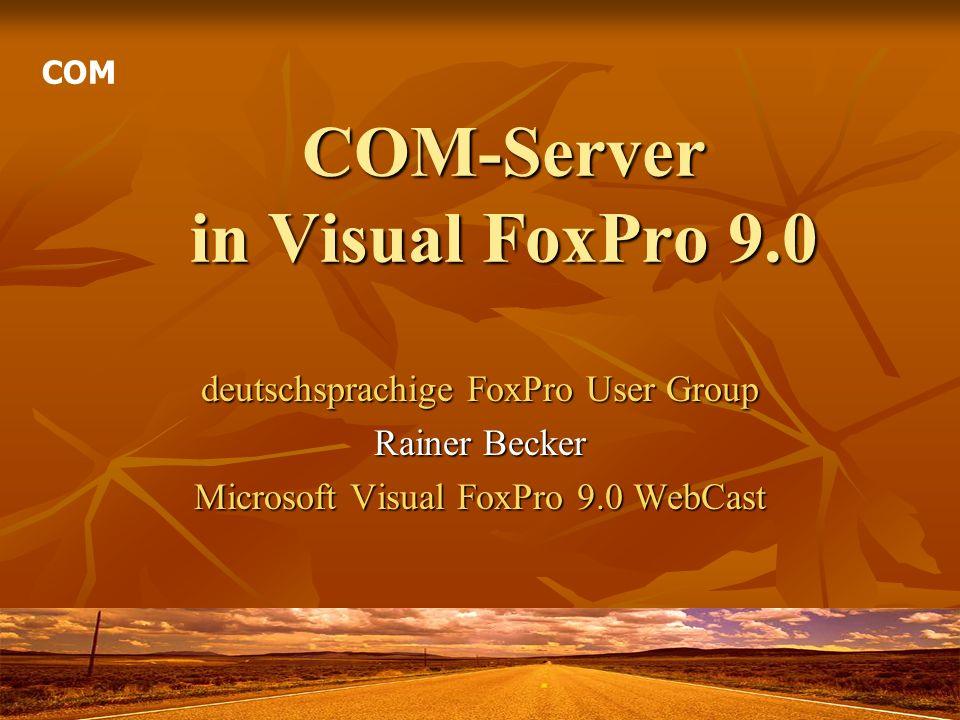 COM-Server in Visual FoxPro 9.0 deutschsprachige FoxPro User Group Rainer Becker Microsoft Visual FoxPro 9.0 WebCast COM