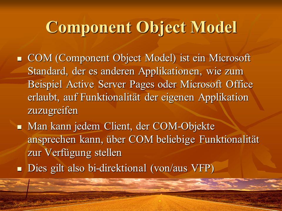 Component Object Model COM (Component Object Model) ist ein Microsoft Standard, der es anderen Applikationen, wie zum Beispiel Active Server Pages ode