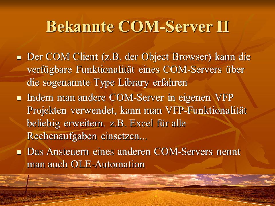 Bekannte COM-Server II Der COM Client (z.B. der Object Browser) kann die verfügbare Funktionalität eines COM-Servers über die sogenannte Type Library