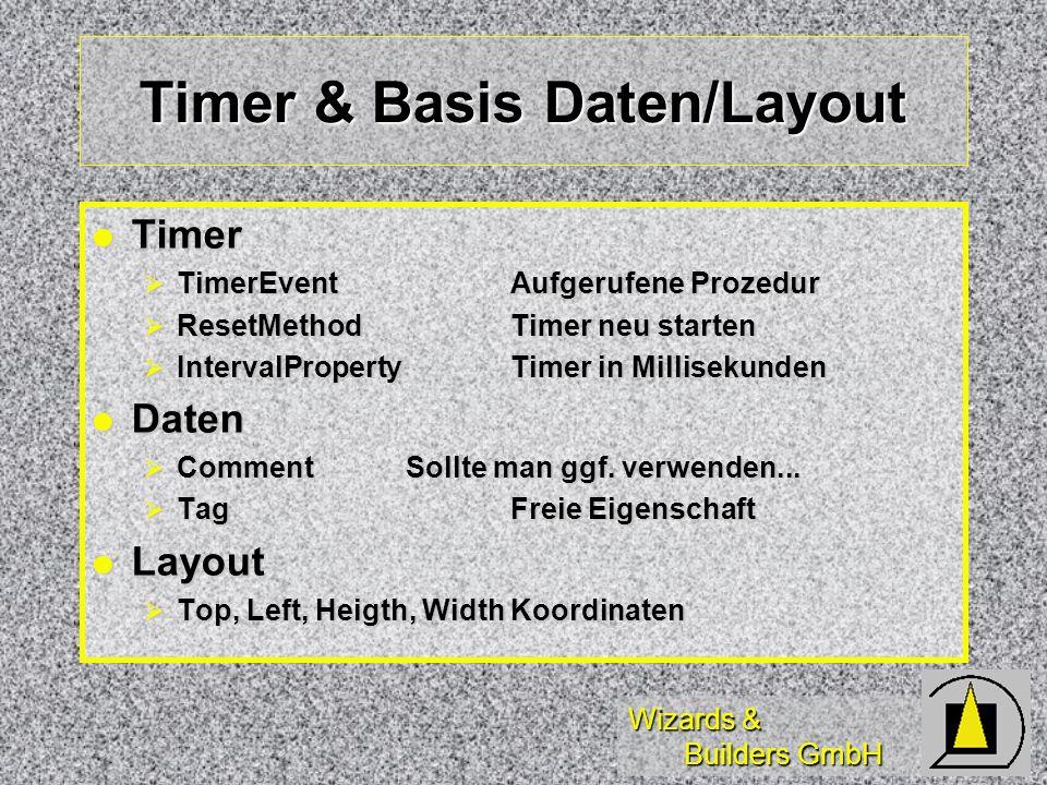 Wizards & Builders GmbH Timer & Basis Daten/Layout Timer Timer TimerEventAufgerufene Prozedur TimerEventAufgerufene Prozedur ResetMethodTimer neu starten ResetMethodTimer neu starten IntervalPropertyTimer in Millisekunden IntervalPropertyTimer in Millisekunden Daten Daten CommentSollte man ggf.