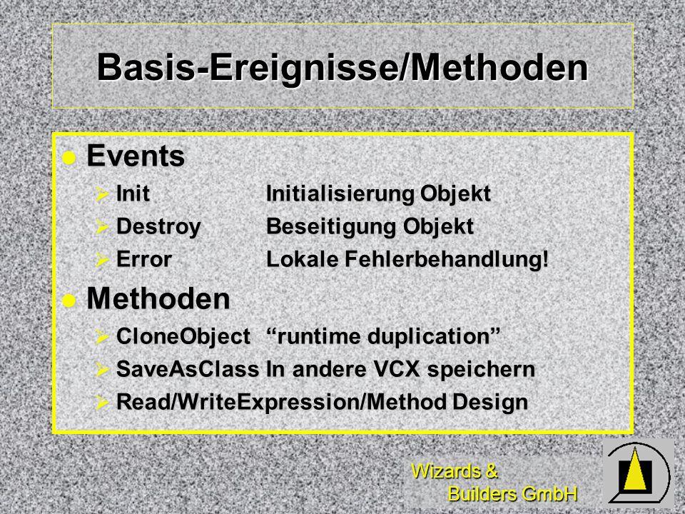 Wizards & Builders GmbH Basis-Ereignisse/Methoden Events Events InitInitialisierung Objekt InitInitialisierung Objekt DestroyBeseitigung Objekt Destro