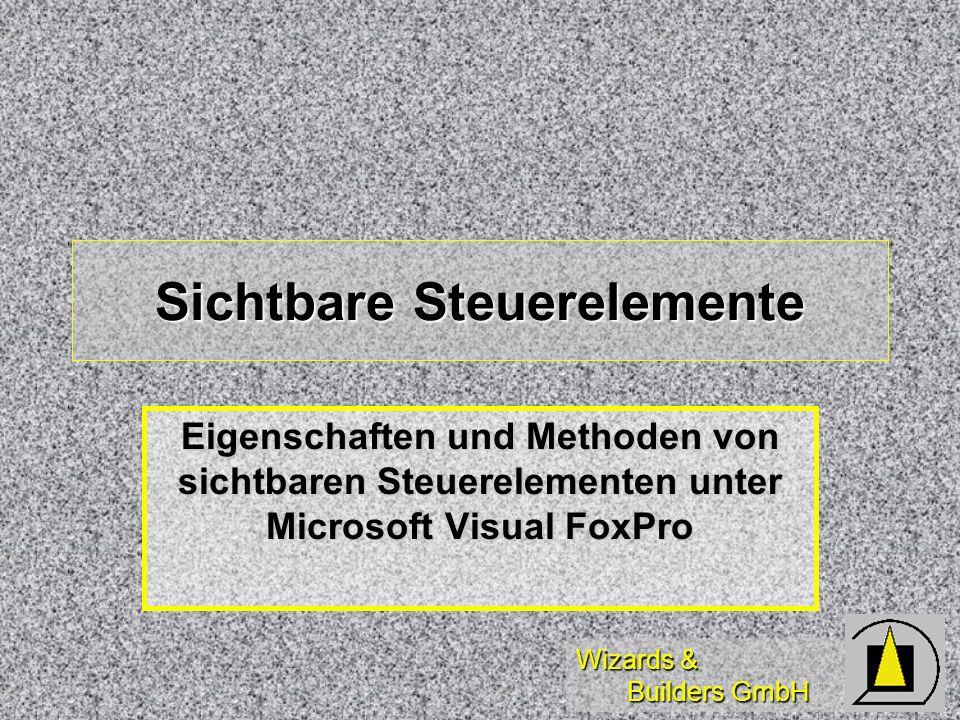 Wizards & Builders GmbH Sichtbare Steuerelemente Eigenschaften und Methoden von sichtbaren Steuerelementen unter Microsoft Visual FoxPro