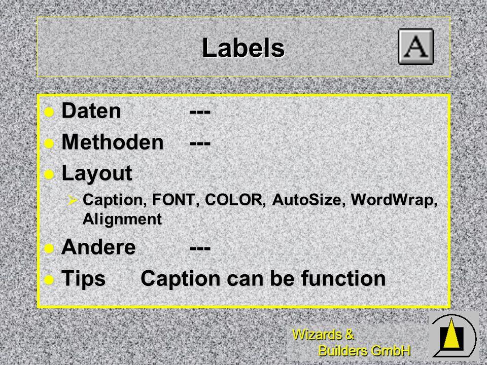 Wizards & Builders GmbH Labels Daten--- Daten--- Methoden--- Methoden--- Layout Layout Caption, FONT, COLOR, AutoSize, WordWrap, Alignment Caption, FO