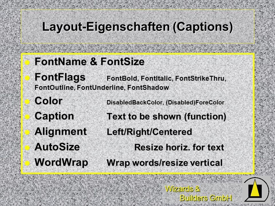 Wizards & Builders GmbH Layout-Eigenschaften (Captions) FontName & FontSize FontName & FontSize FontFlags FontBold, FontItalic, FontStrikeThru, FontOu