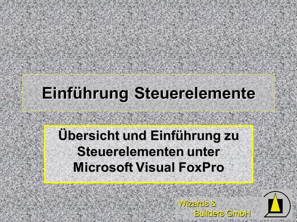 Wizards & Builders GmbH Combo-Boxen DatenBoundColumn, DisplayValue DatenBoundColumn, DisplayValue MethodenAddItem, AddListItem, MethodenAddItem, AddListItem, Layout Layout ColumnCount, -Lines, -Width, Disabled/Select/Item/Back/ForeC ColumnCount, -Lines, -Width, Disabled/Select/Item/Back/ForeC Other Other TopIndex, TopItemID, +NEW, IncrementalSearch, Listcount TopIndex, TopItemID, +NEW, IncrementalSearch, Listcount TipsListIndex, ListIdemID TipsListIndex, ListIdemID
