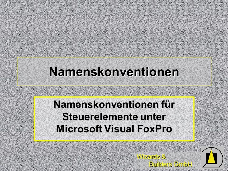 Wizards & Builders GmbH Namenskonventionen Namenskonventionen für Steuerelemente unter Microsoft Visual FoxPro