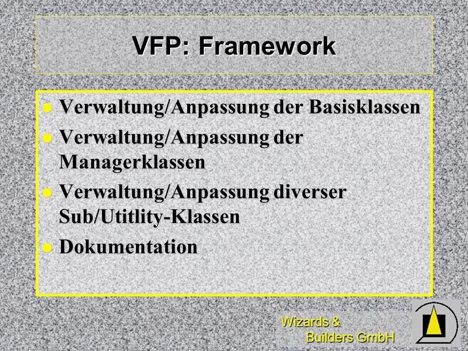 Wizards & Builders GmbH VFP: Framework Verwaltung/Anpassung der Basisklassen Verwaltung/Anpassung der Basisklassen Verwaltung/Anpassung der Managerkla