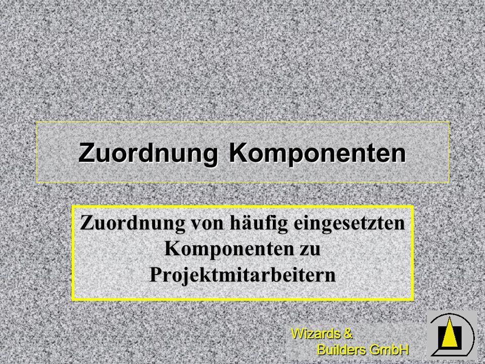 Wizards & Builders GmbH Zuordnung Komponenten Zuordnung von häufig eingesetzten Komponenten zu Projektmitarbeitern