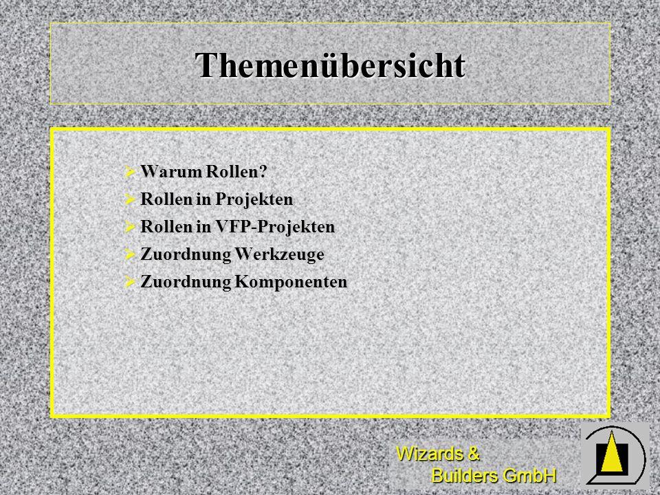 Wizards & Builders GmbH Themenübersicht Warum Rollen? Warum Rollen? Rollen in Projekten Rollen in Projekten Rollen in VFP-Projekten Rollen in VFP-Proj