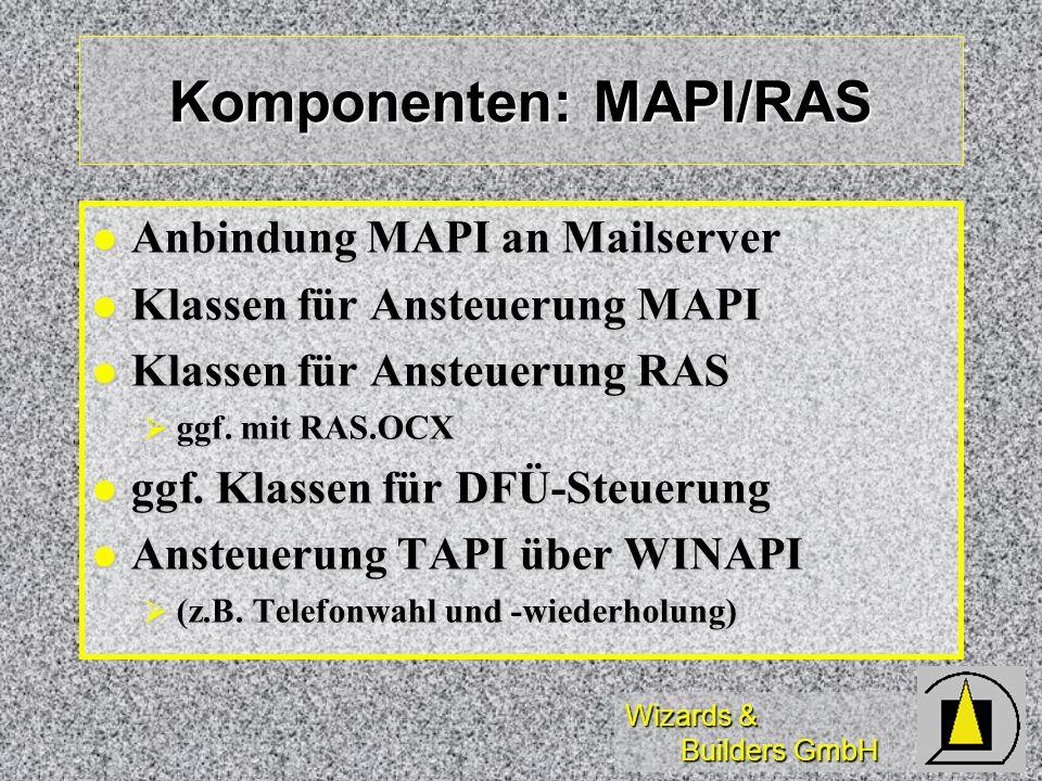 Wizards & Builders GmbH Komponenten: MAPI/RAS Anbindung MAPI an Mailserver Anbindung MAPI an Mailserver Klassen für Ansteuerung MAPI Klassen für Anste
