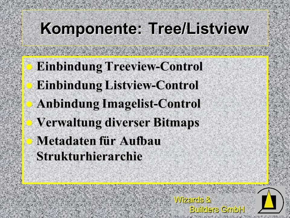 Wizards & Builders GmbH Komponente: Tree/Listview Einbindung Treeview-Control Einbindung Treeview-Control Einbindung Listview-Control Einbindung Listv