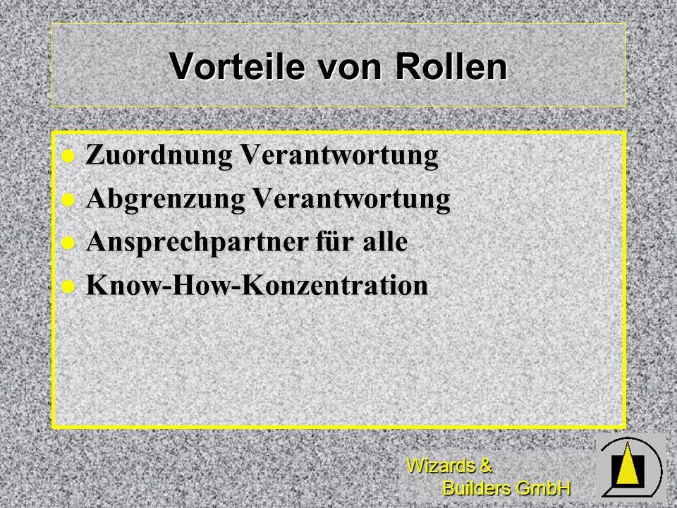 Wizards & Builders GmbH Vorteile von Rollen Zuordnung Verantwortung Zuordnung Verantwortung Abgrenzung Verantwortung Abgrenzung Verantwortung Ansprech