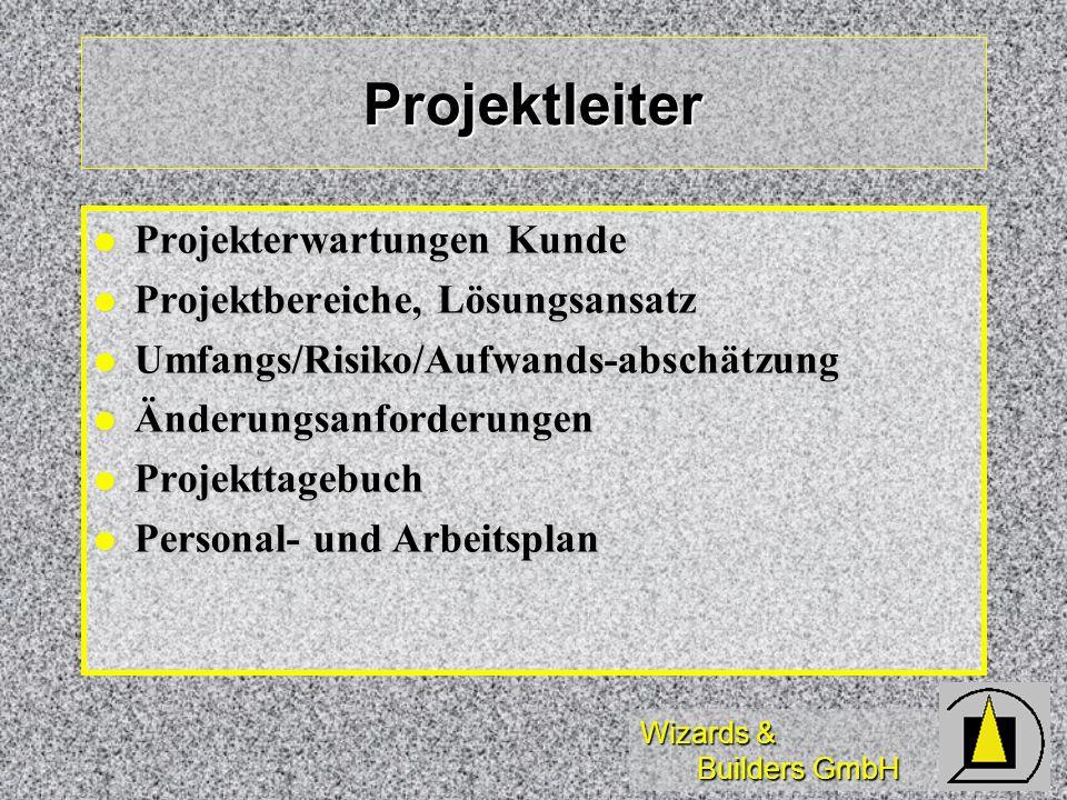 Wizards & Builders GmbH Projektleiter Projekterwartungen Kunde Projekterwartungen Kunde Projektbereiche, Lösungsansatz Projektbereiche, Lösungsansatz