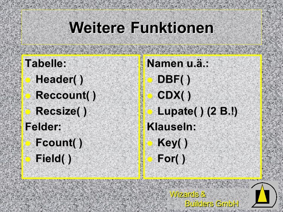 Wizards & Builders GmbH Weitere Funktionen Tabelle: Header( ) Header( ) Reccount( ) Reccount( ) Recsize( ) Recsize( )Felder: Fcount( ) Fcount( ) Field