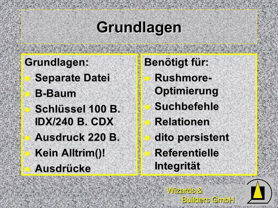 Wizards & Builders GmbH Grundlagen Grundlagen: Separate Datei Separate Datei B-Baum B-Baum Schlüssel 100 B. IDX/240 B. CDX Schlüssel 100 B. IDX/240 B.