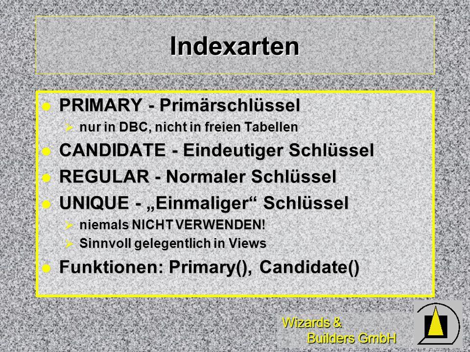 Wizards & Builders GmbH Indexarten PRIMARY - Primärschlüssel PRIMARY - Primärschlüssel nur in DBC, nicht in freien Tabellen nur in DBC, nicht in freie