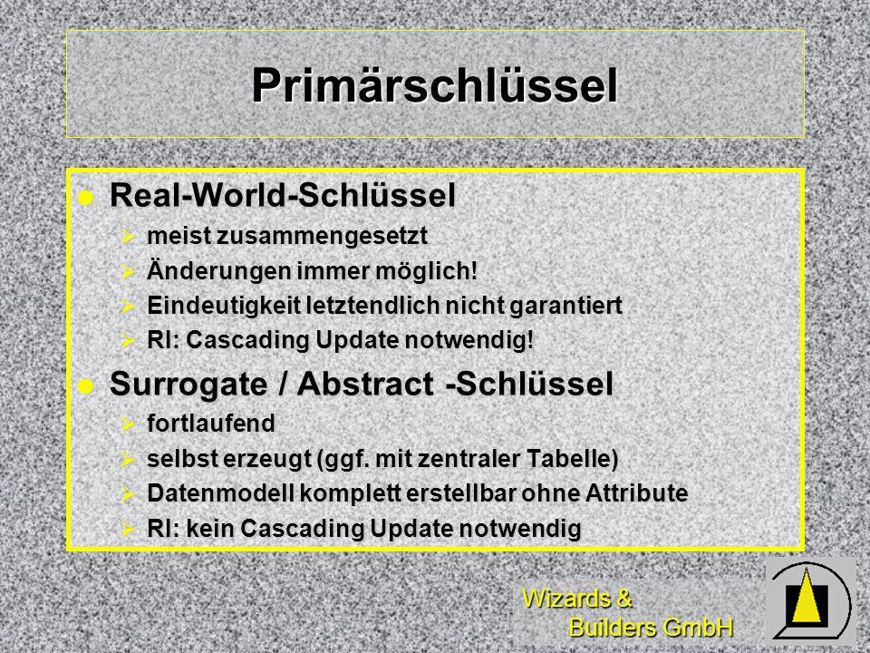 Wizards & Builders GmbH Primärschlüssel Real-World-Schlüssel Real-World-Schlüssel meist zusammengesetzt meist zusammengesetzt Änderungen immer möglich