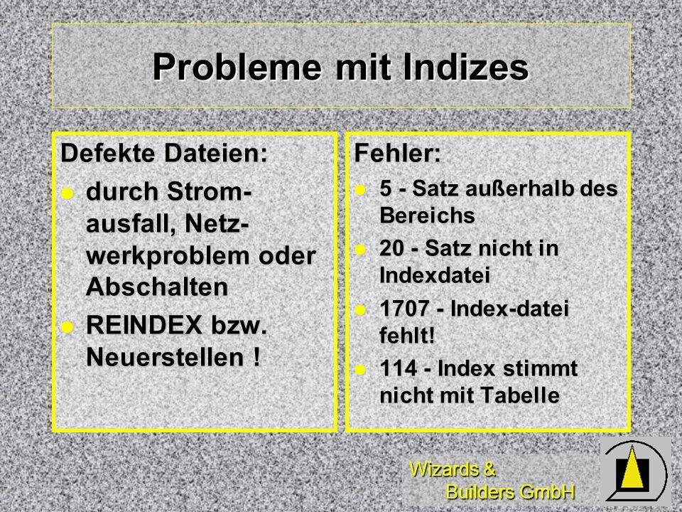 Wizards & Builders GmbH Probleme mit Indizes Defekte Dateien: durch Strom- ausfall, Netz- werkproblem oder Abschalten durch Strom- ausfall, Netz- werk