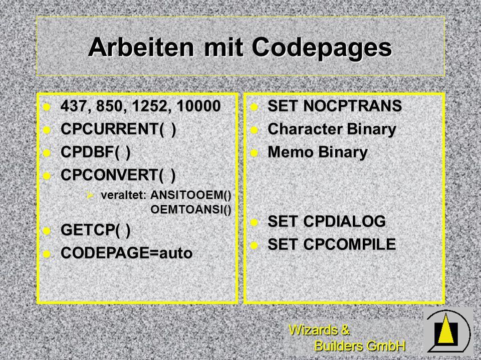 Wizards & Builders GmbH Arbeiten mit Codepages 437, 850, 1252, 10000 437, 850, 1252, 10000 CPCURRENT( ) CPCURRENT( ) CPDBF( ) CPDBF( ) CPCONVERT( ) CP