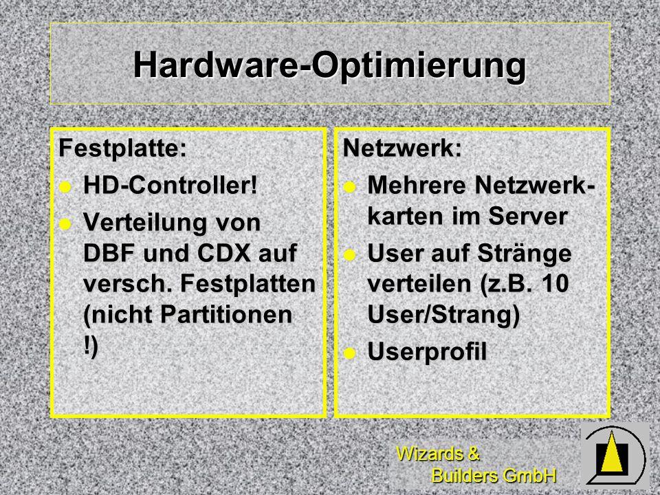 Wizards & Builders GmbH Hardware-Optimierung Festplatte: HD-Controller! HD-Controller! Verteilung von DBF und CDX auf versch. Festplatten (nicht Parti
