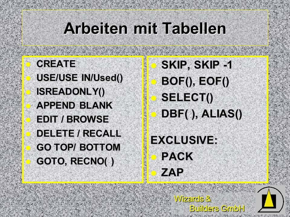 Wizards & Builders GmbH Arbeiten mit Tabellen CREATE CREATE USE/USE IN/Used() USE/USE IN/Used() ISREADONLY() ISREADONLY() APPEND BLANK APPEND BLANK ED