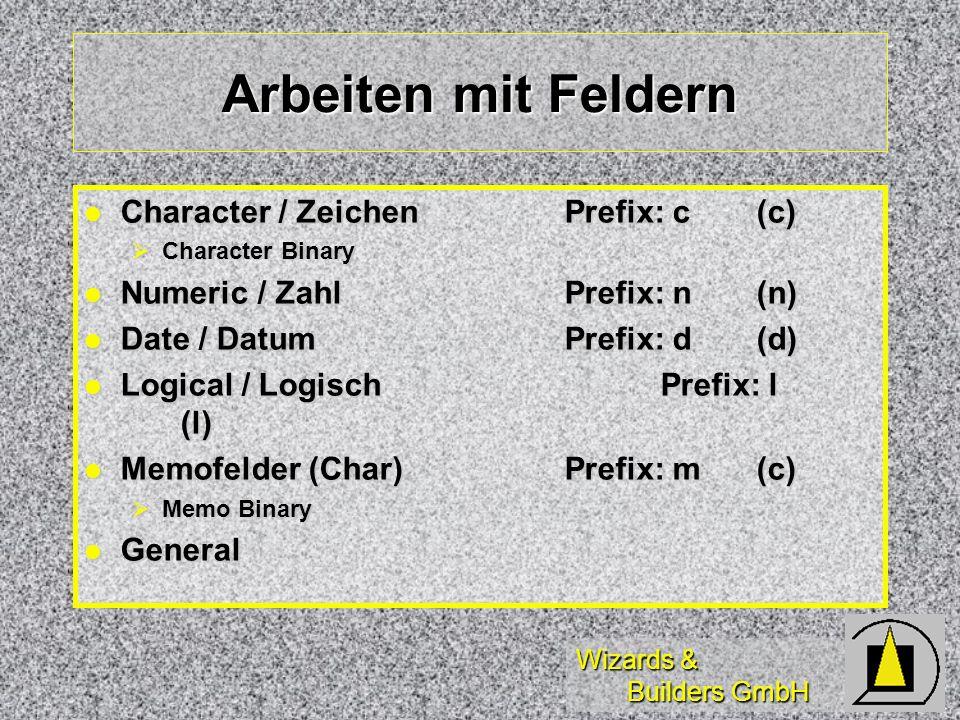 Wizards & Builders GmbH Arbeiten mit Feldern Character / ZeichenPrefix: c(c) Character / ZeichenPrefix: c(c) Character Binary Character Binary Numeric