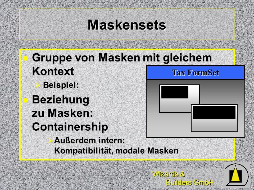 Wizards & Builders GmbH Gruppe von Masken mit gleichem Kontext Gruppe von Masken mit gleichem Kontext Beispiel: Beispiel: Beziehung zu Masken: Containership Beziehung zu Masken: Containership Außerdem intern: Kompatibilität, modale Masken Außerdem intern: Kompatibilität, modale Masken Maskensets 1040 Schedule A Tax FormSet