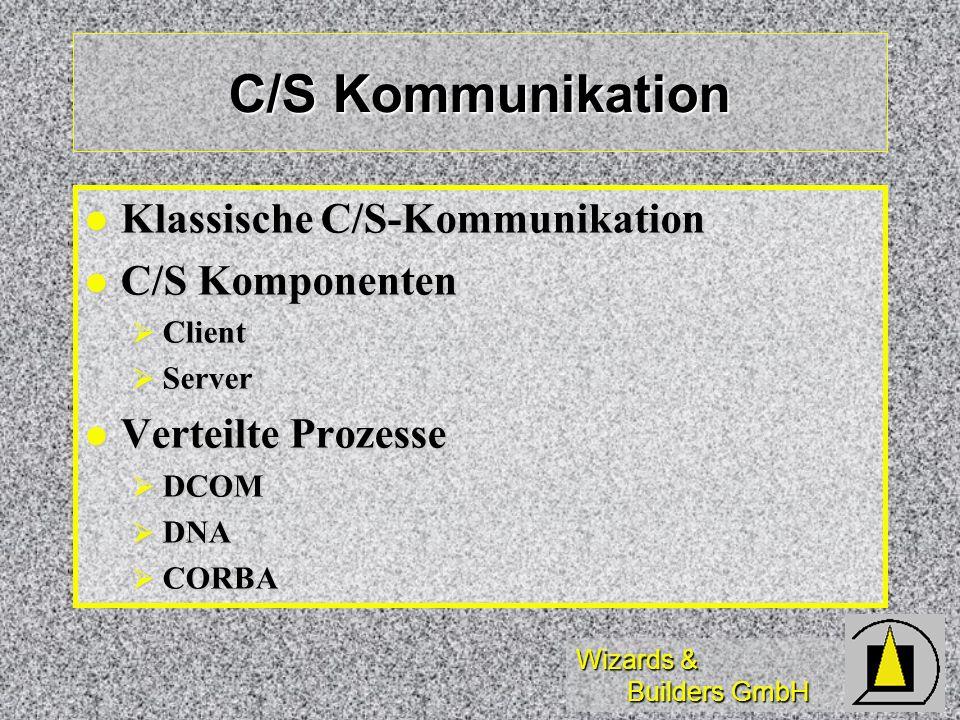 Wizards & Builders GmbH C/S Kommunikation Klassische C/S-Kommunikation Klassische C/S-Kommunikation C/S Komponenten C/S Komponenten Client Client Serv